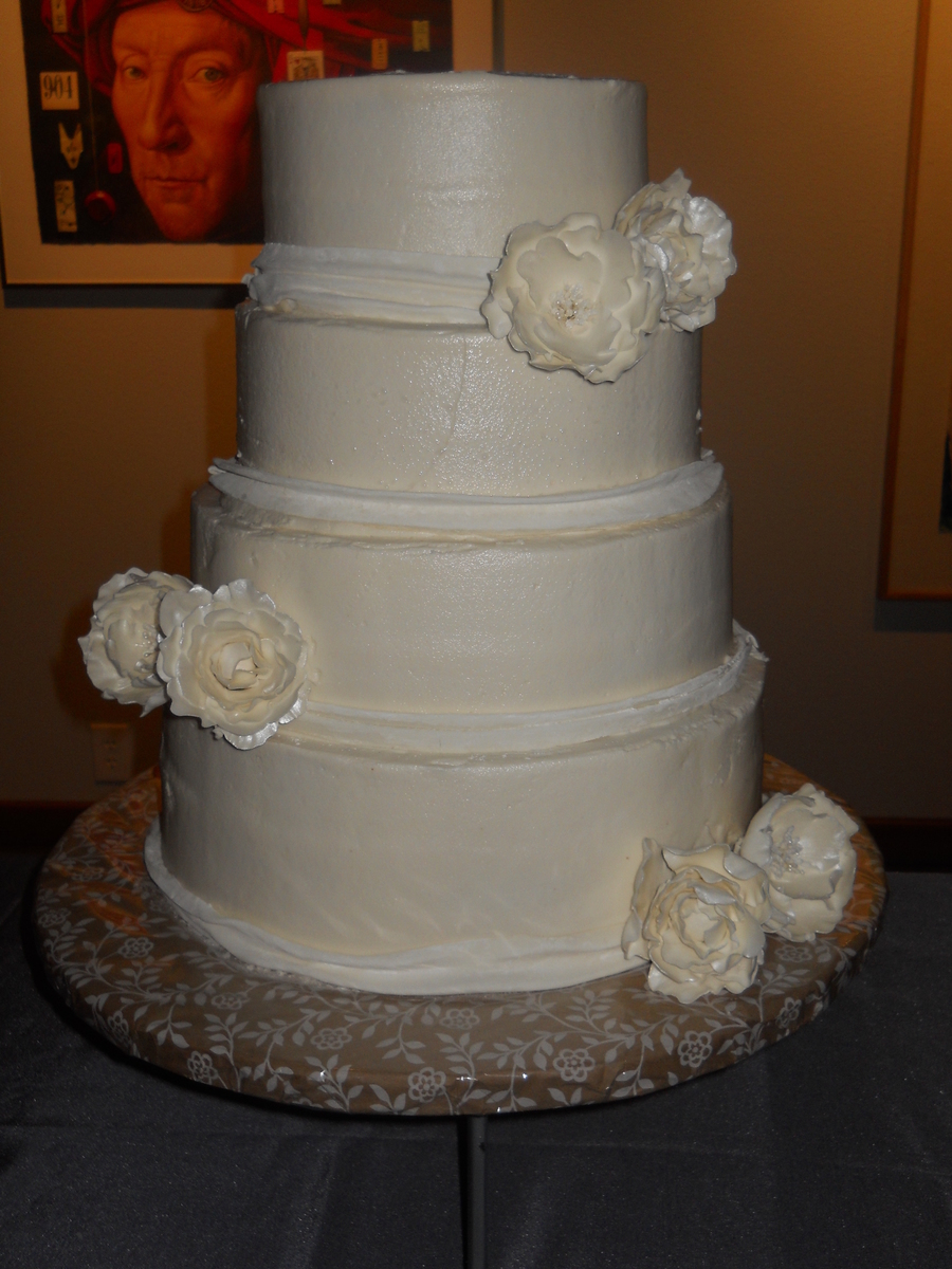 White Butter Cream Wedding Cake With Peonies on Cake Central