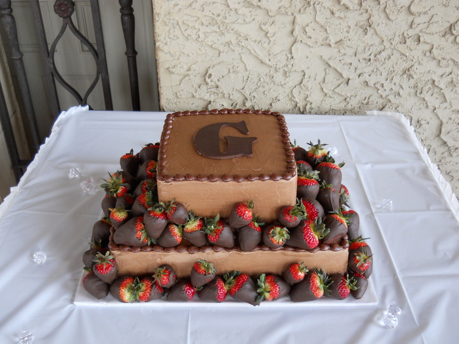 Two Tier Chocolate Grooms Cake With Strawberries