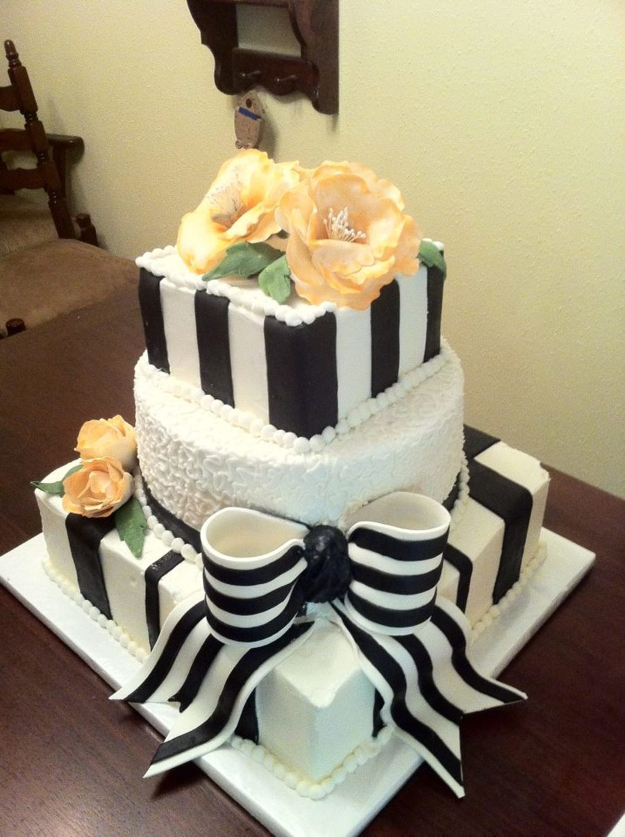 Black And White Wedding Cake With Orange Peonies on Cake Central