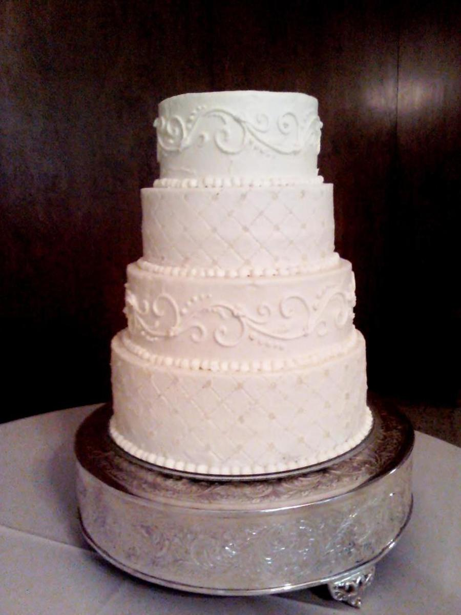 Bling, Pearl, And Scroll Wedding Cake on Cake Central
