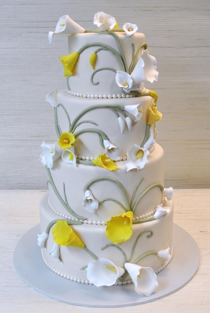 wedding cake decorated with calla lilies extraordinary 5 tier wedding cake with ruffled gum 22359
