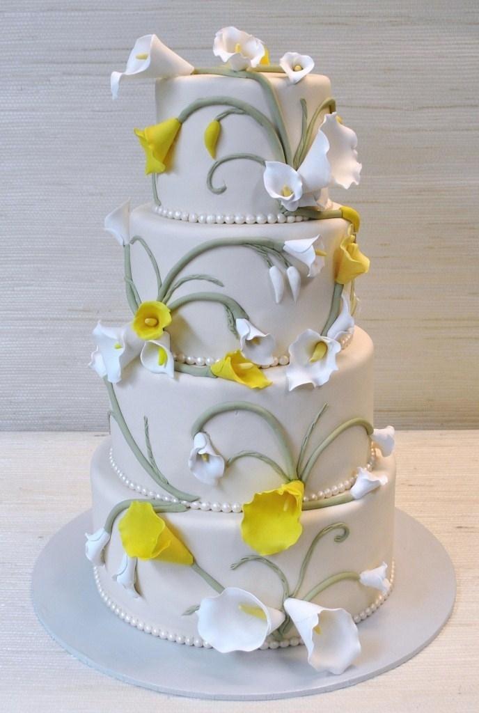 Wedding Cake With Fresh Calla Lilies