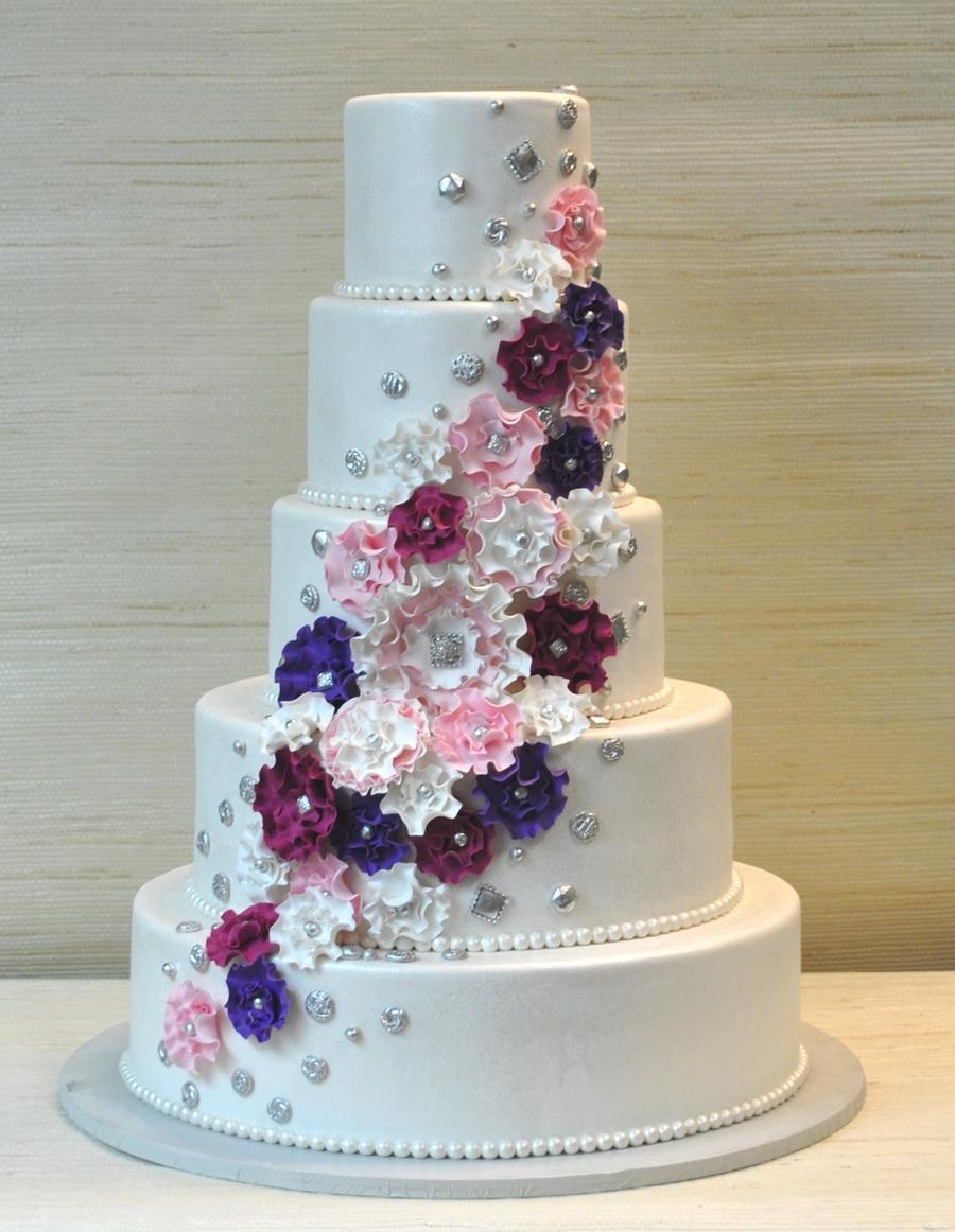 Extraordinary 5 Tier Wedding Cake With Fantasy Ruffled Gum