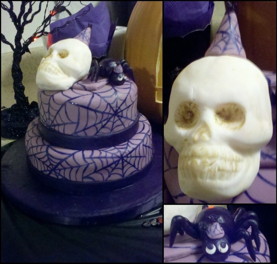Skull And Spider Cake, Spiderweb on Cake Central