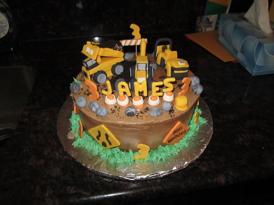 Construction Cake With Fondant Dump Truck Excavator Steam Roller