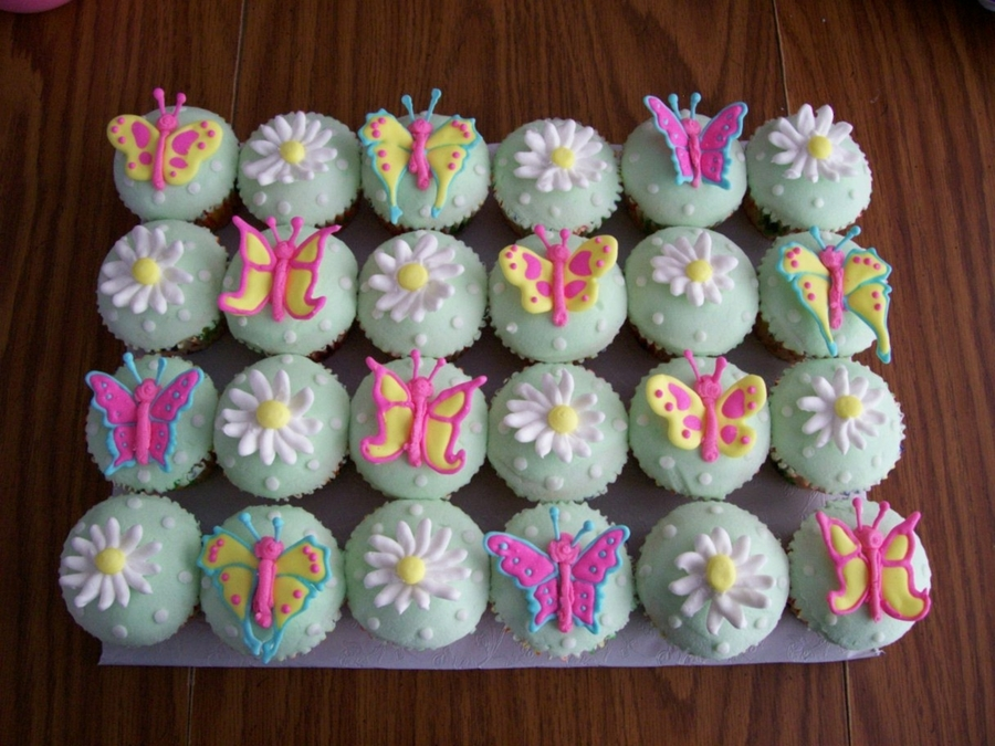 Butterly And Flower Cupcakes on Cake Central