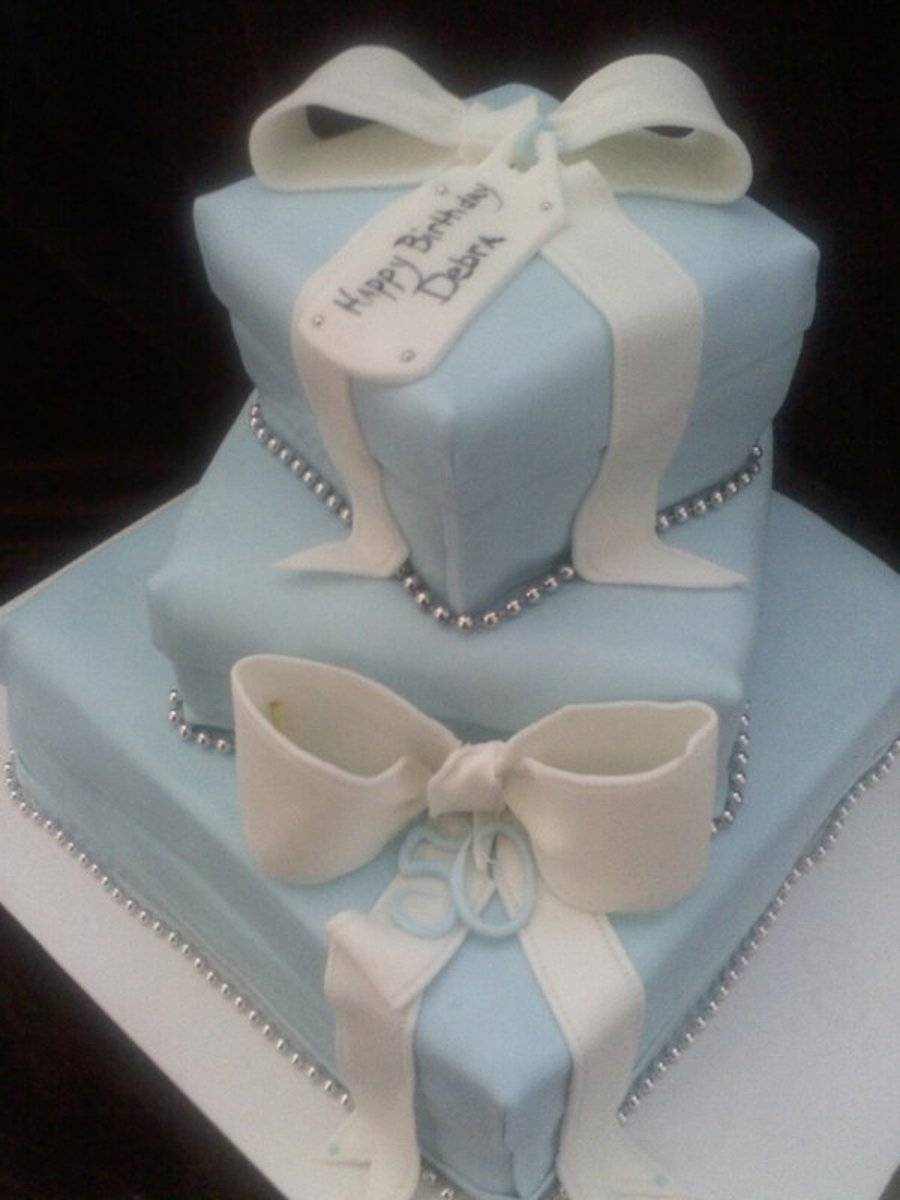 Tiffany gift box cakes cakecentral 3 tier square cakes all frosted fondant coveredbows made of fondant negle Images