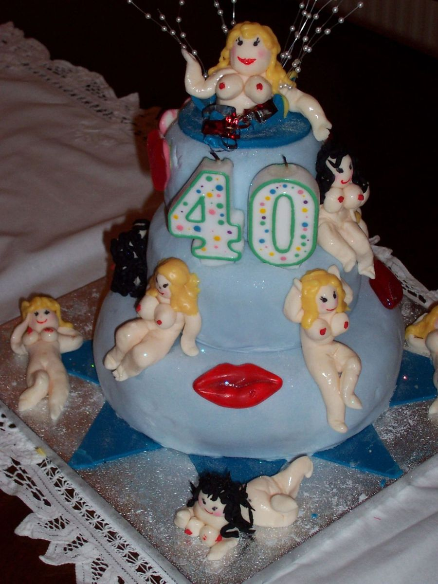 Groovy Naughty 40 Birthday Cake 3 Tier Cakecentral Com Personalised Birthday Cards Veneteletsinfo