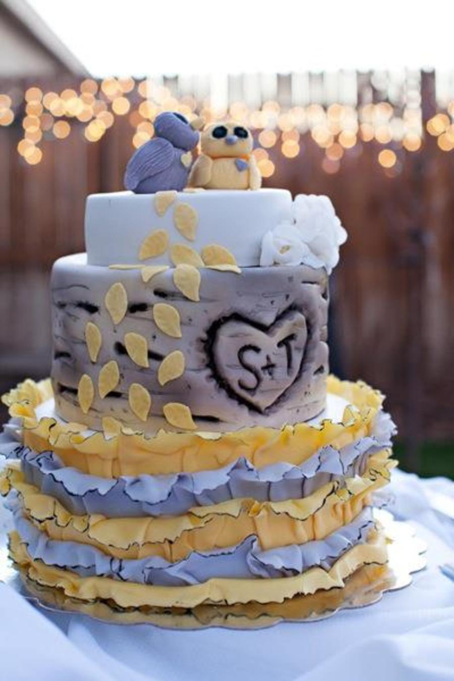 Aspen Tree With Ruffles And Owls  on Cake Central
