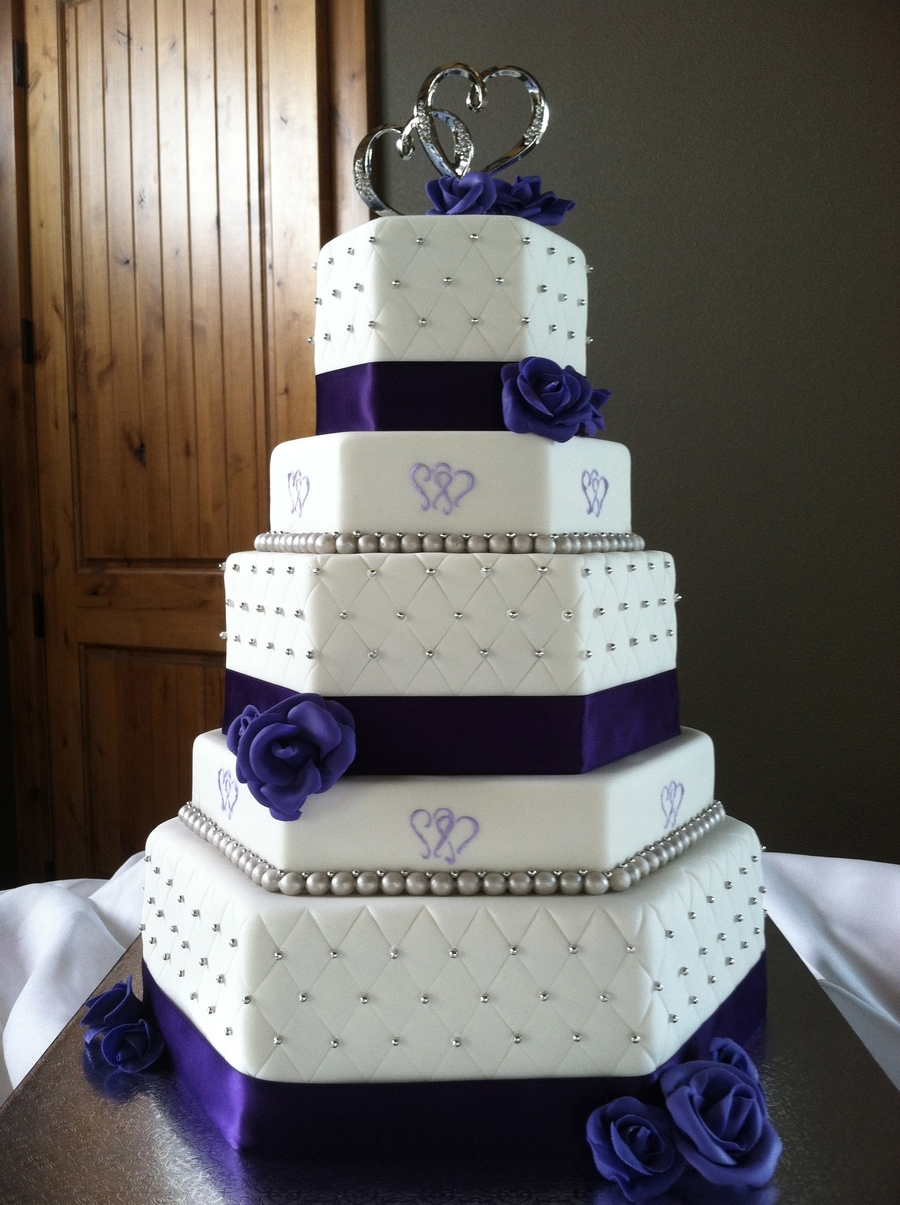 Two Hearts Themed Purple And Silver Hexagon Wedding Cake