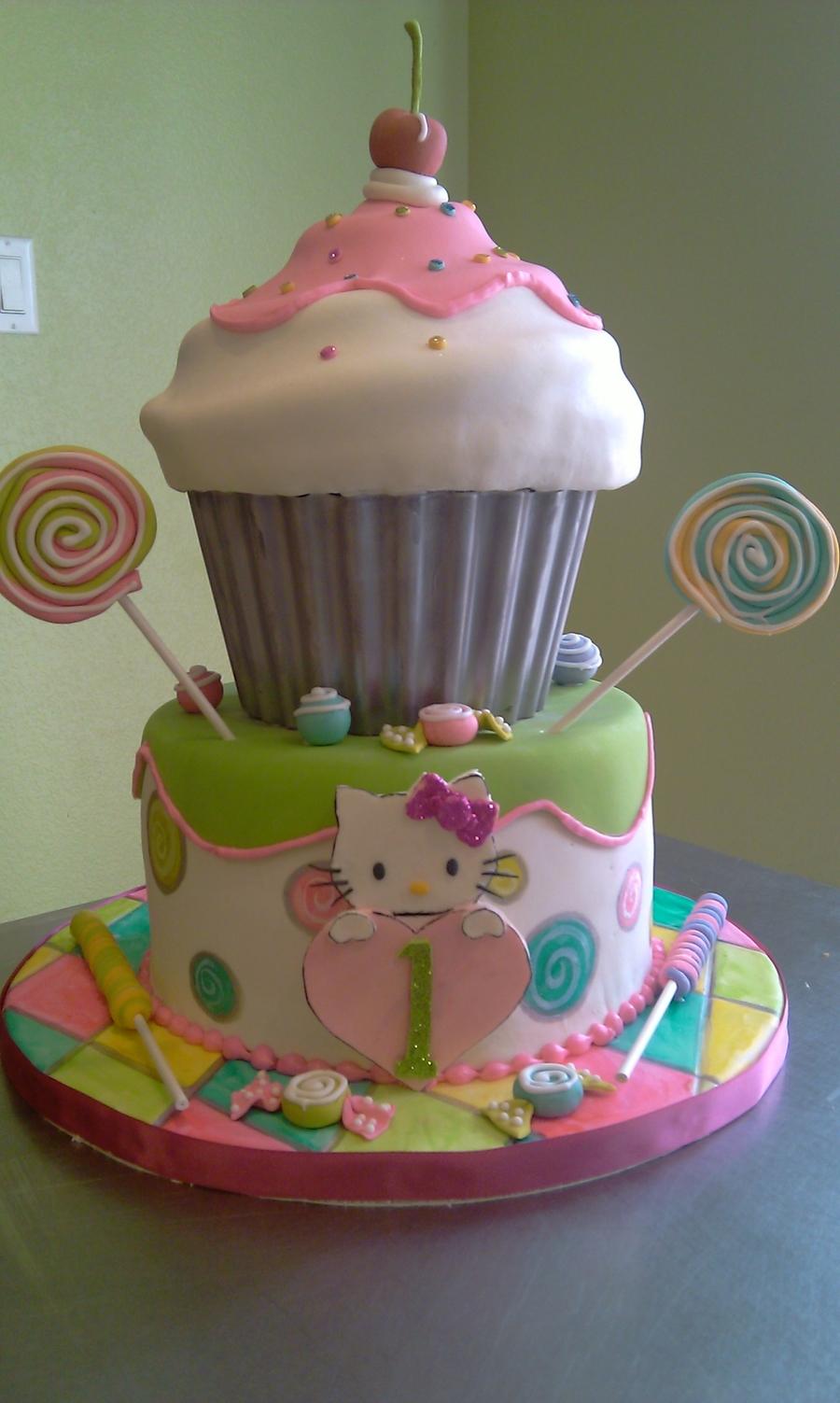 1St Birthday Hello Kitty Cupcake Cake - CakeCentral.com