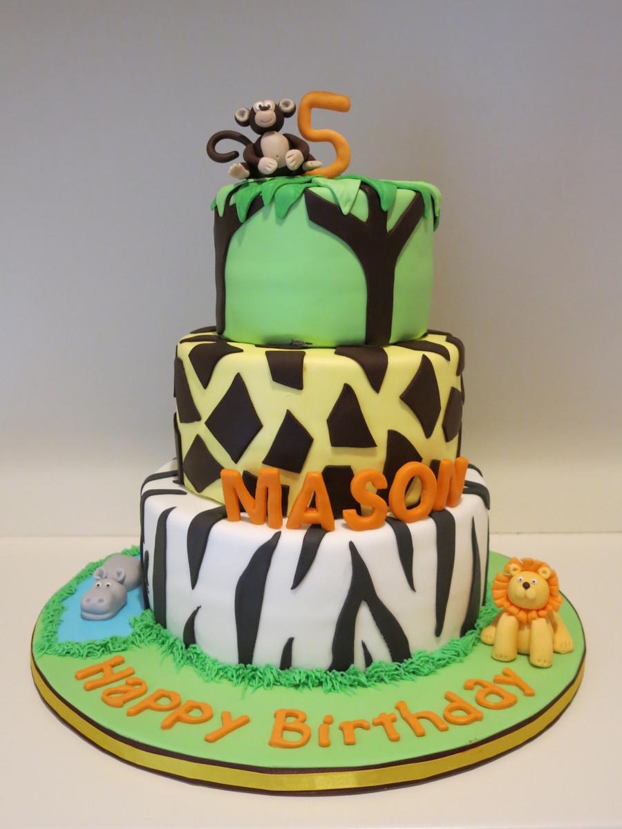 Zoo Theme Cake Monkey Lion Hippo Cakecentral