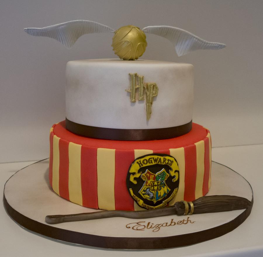 Harry Potter Cake Hogwarts Golden Snitch Nimbus 2000 CakeCentralcom