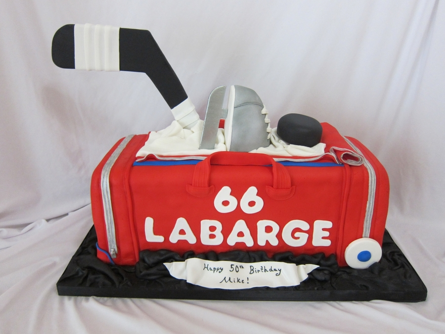 Hockey Duffle Bag on Cake Central