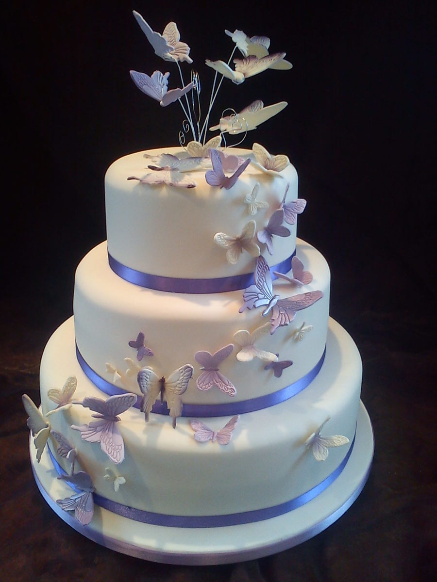 Buttercream Wedding Cakes With Butterflies