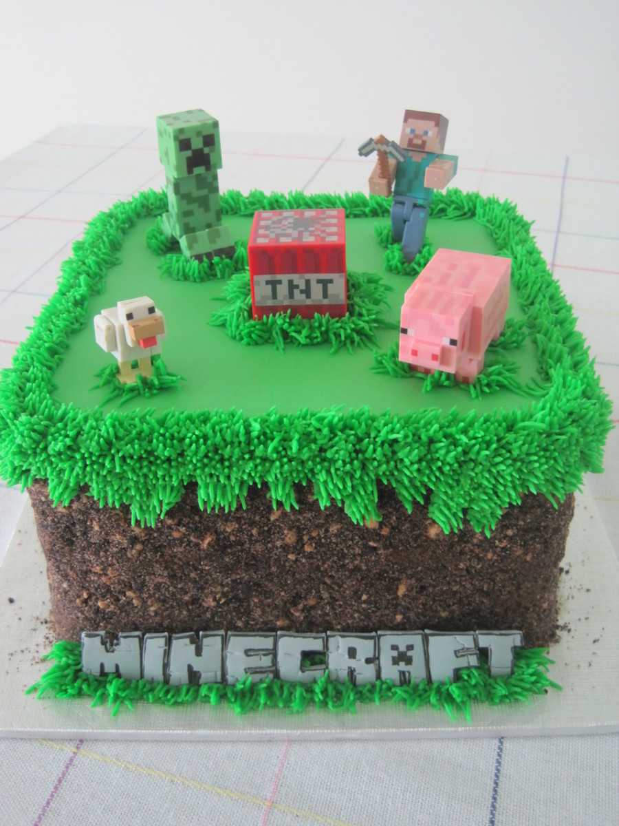 Minecraft Grass Block Birthday Cake For My Nephew Oreo And Teddy Graham Crumbs For The Sidesdirt Fondant Lettering on Cake Central