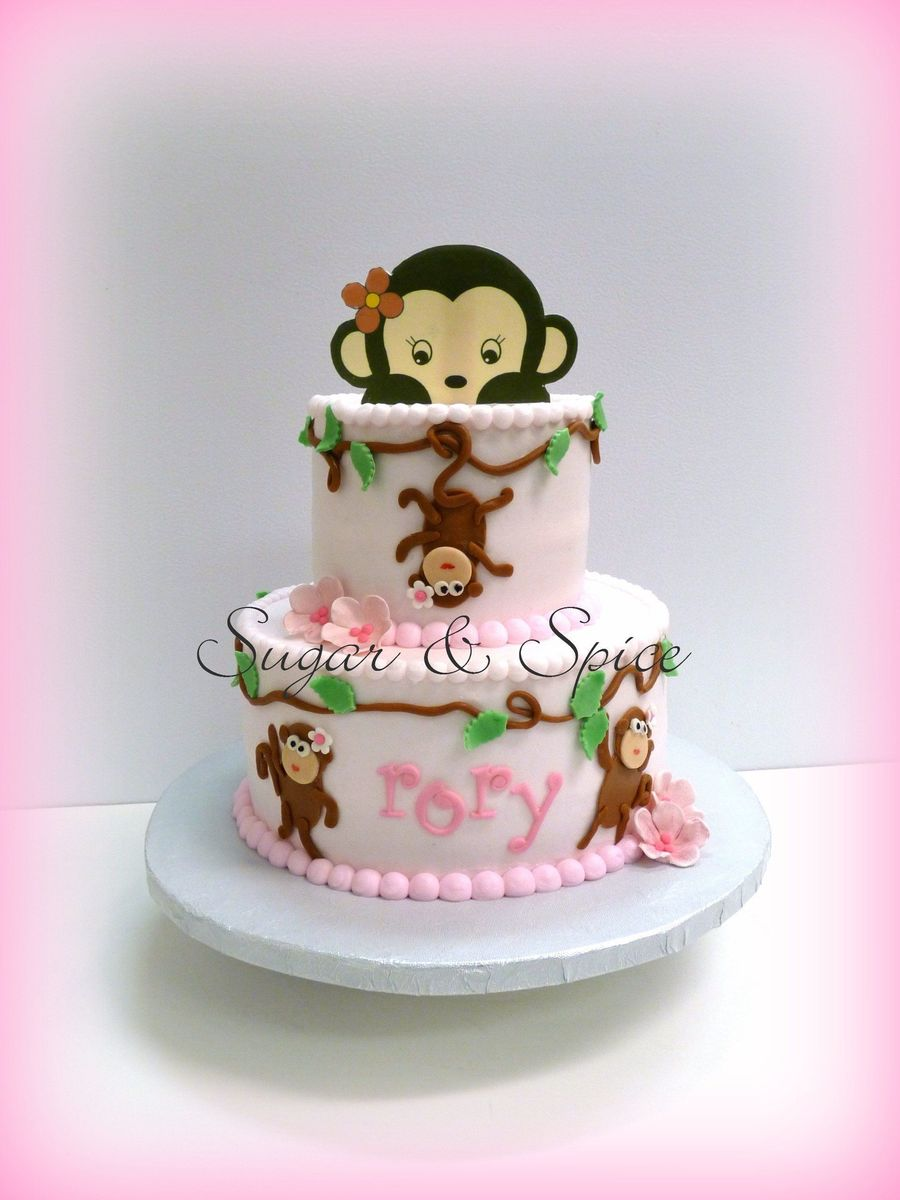For a monkey themed baby shower iced in buttercream with fondant details - Baby shower cakes monkey theme ...