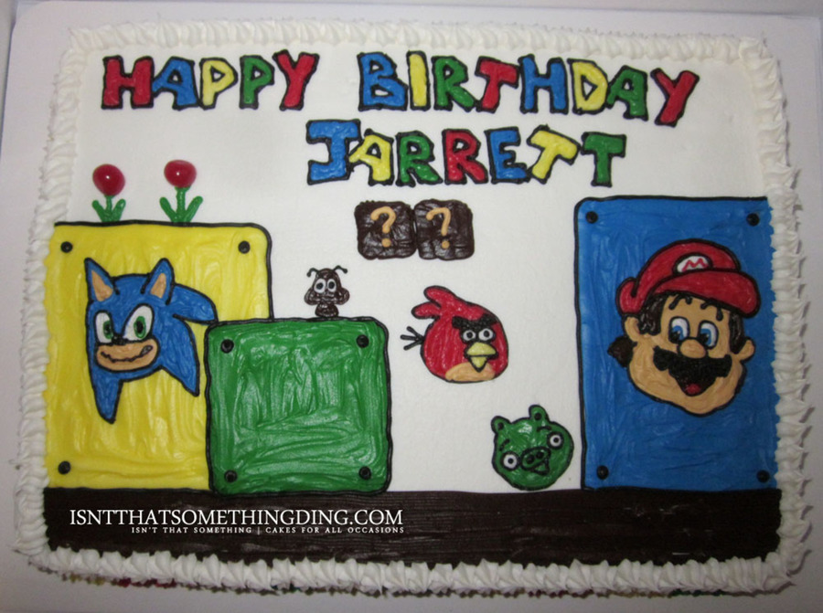 Mario, Sonic & Angry Birds Birthday Cake on Cake Central