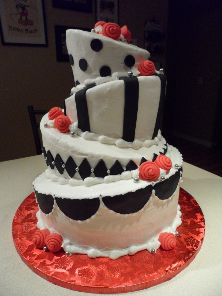 Black, White, And Red Wedding Cake  on Cake Central