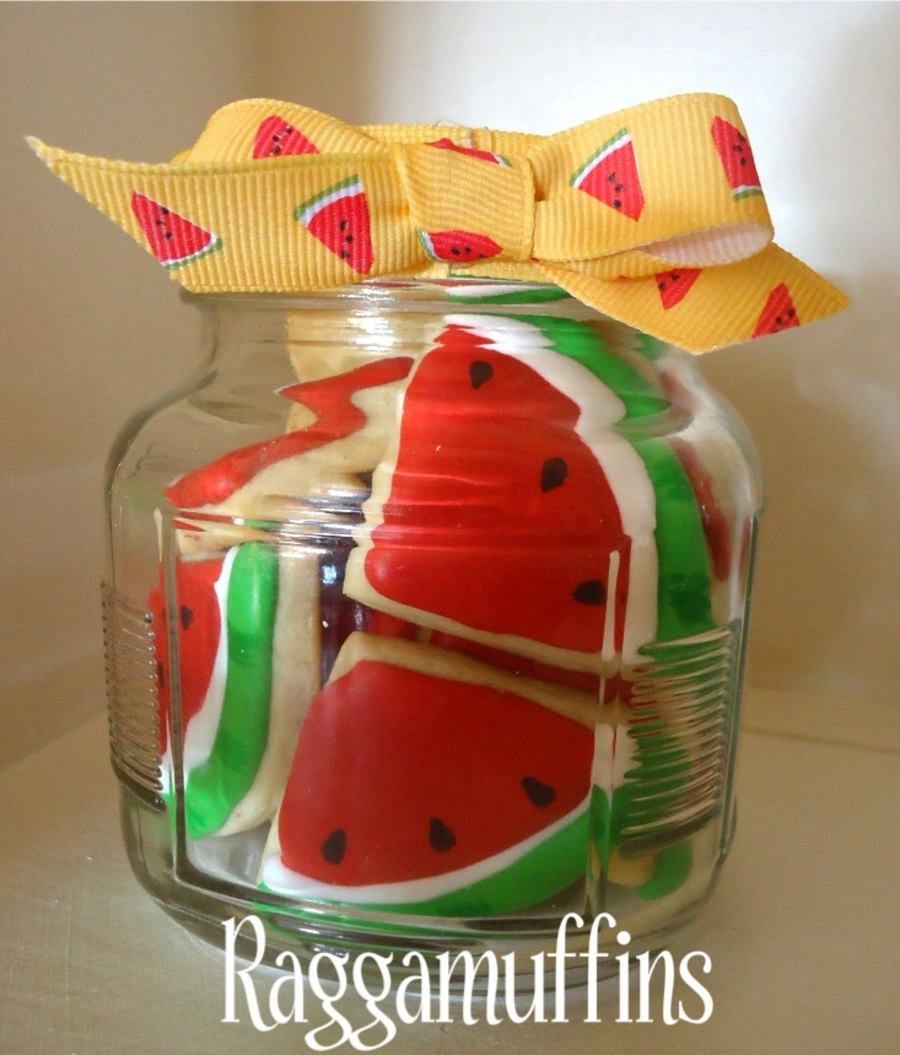 Watermelon Cookies In A Jar on Cake Central