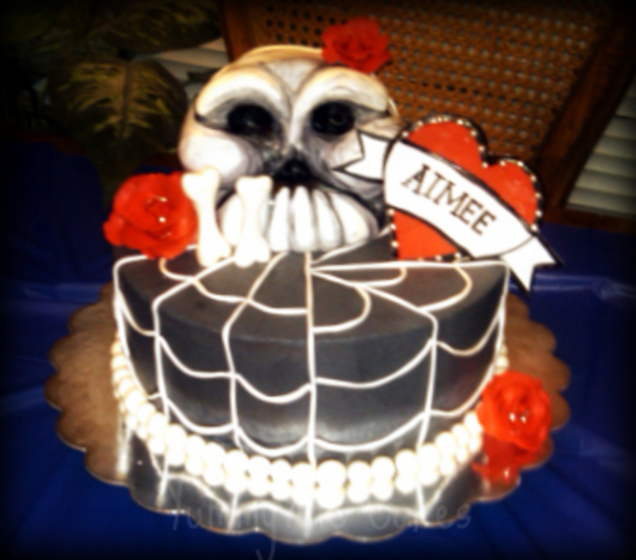 Skull & Roses Cake With Spider Web Design  on Cake Central