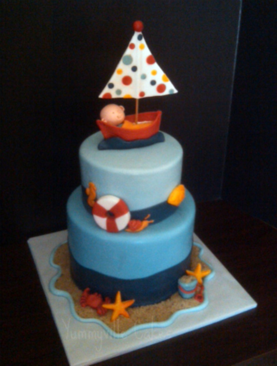 Nautical/sailing Baby Shower Cake on Cake Central