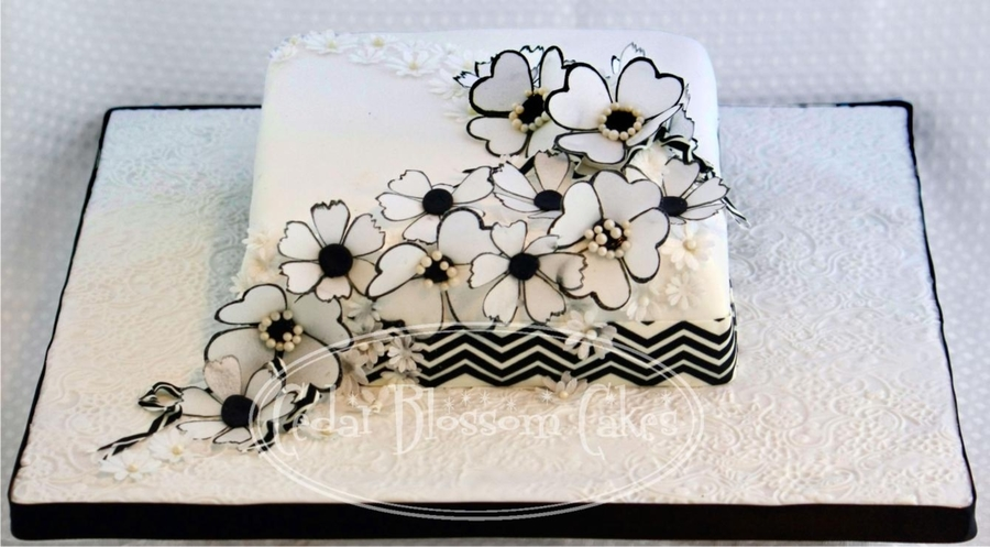 Black And White Wafer Flowers Anniversary Cake on Cake Central