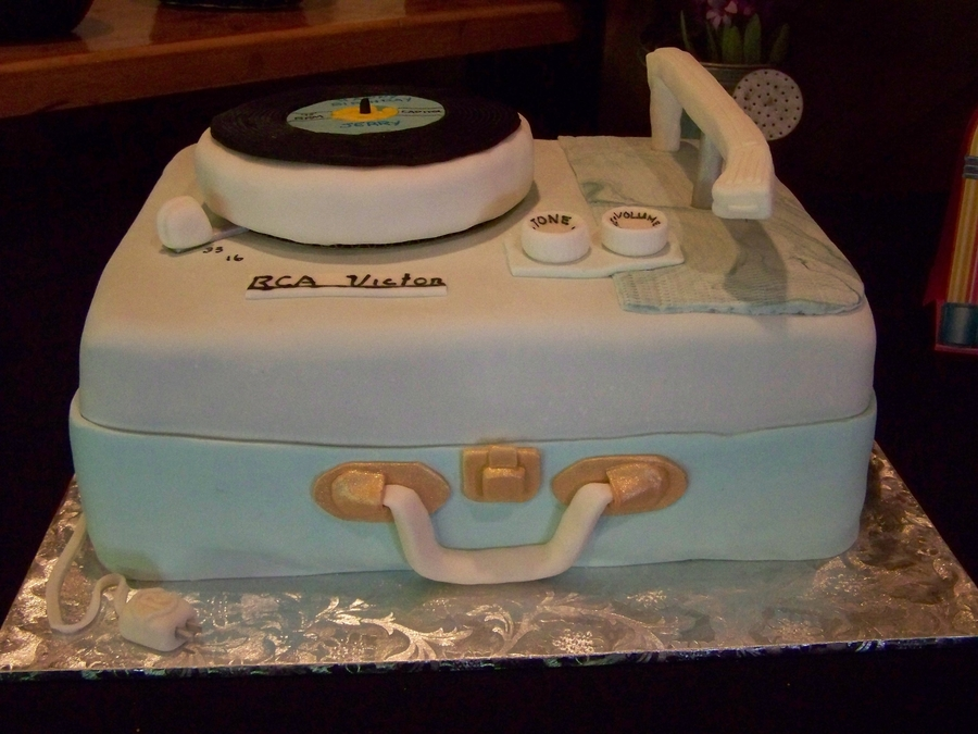 This Was A Birthday Cake For Friend Who At 50s Sock Hop Our Town Did The 45 RPM Record Wishes Him Happy Tone Arm Swivels On