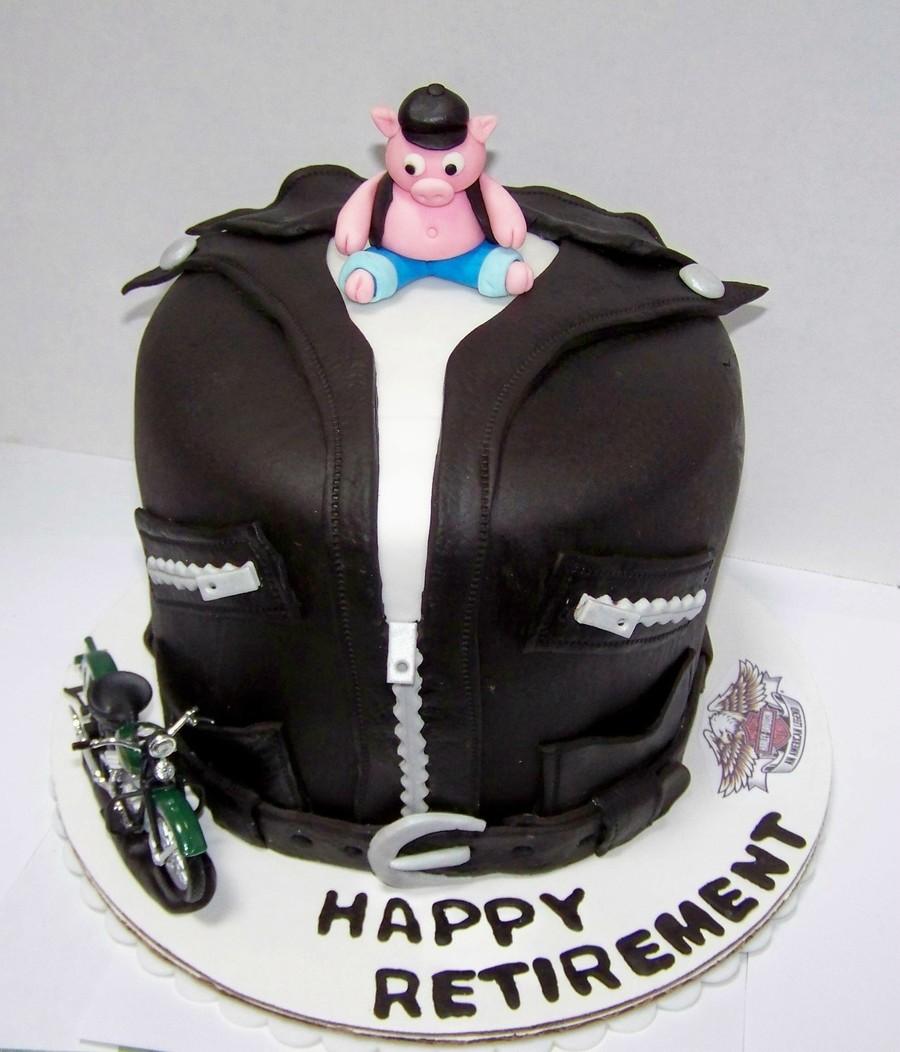 Harley Davidson Leather Jacket Retirement Cake
