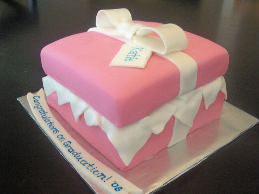Pink Graduation Gift Box on Cake Central