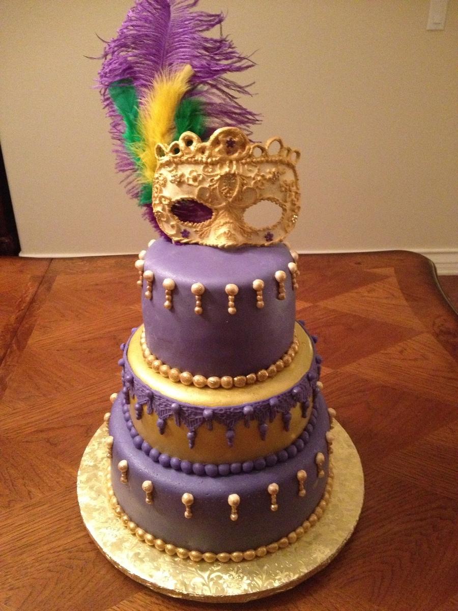 Mardi Gras Theme Birthday Cake Gum Paste Mask Non Edible