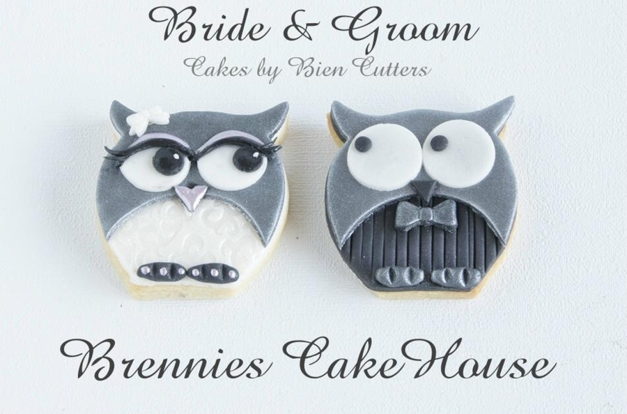 Bride And Groom Owl Cookies  on Cake Central