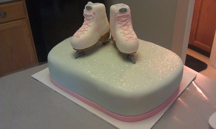 Girls Ice Skating Birthday Cake Skates Stand Upright On The Blades
