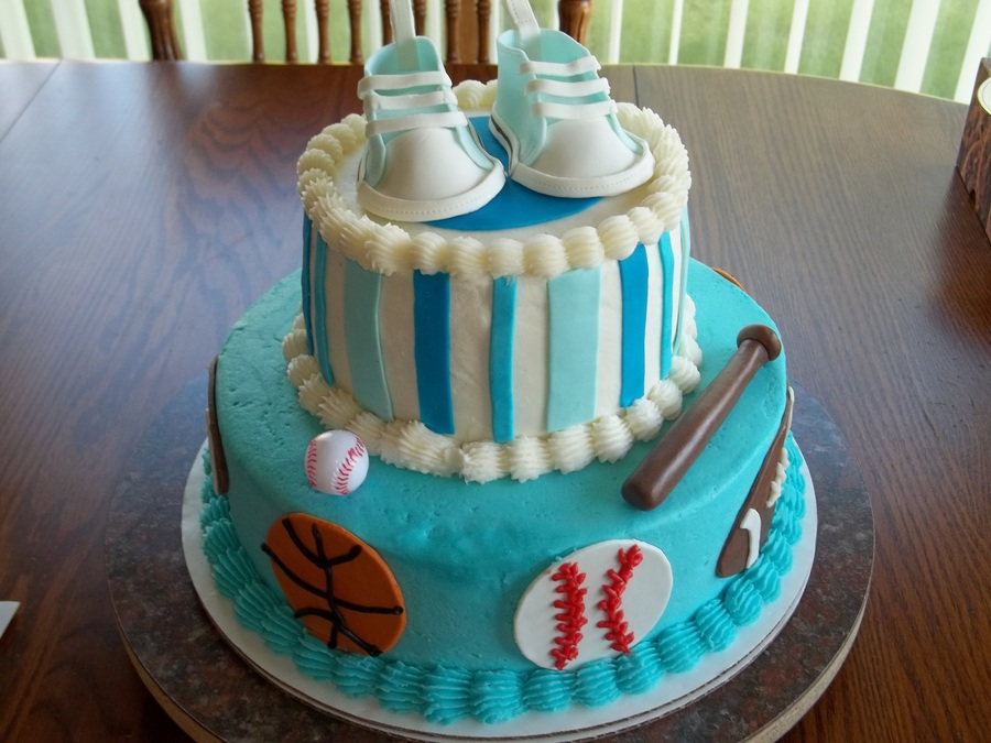 Sports Themed Baby Shower Cake on Cake Central