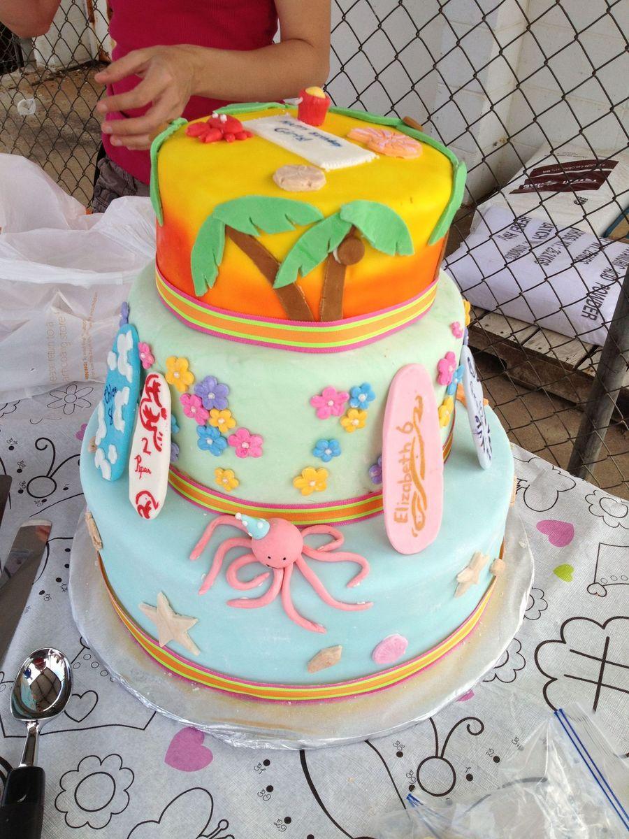 Surprising Hawaiian Luau Birthday Cake Cakecentral Com Funny Birthday Cards Online Fluifree Goldxyz