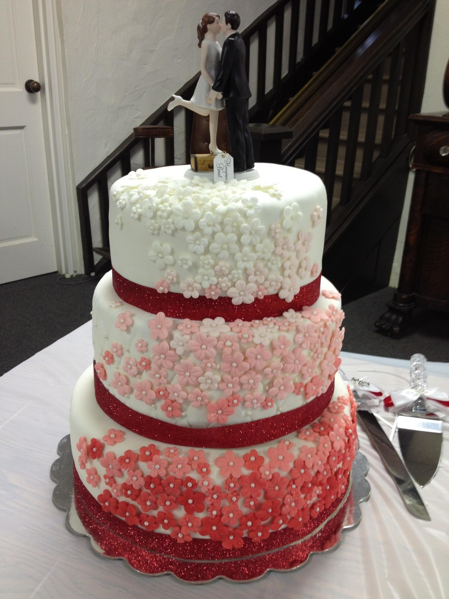 White To Red Wedding Cake On Central