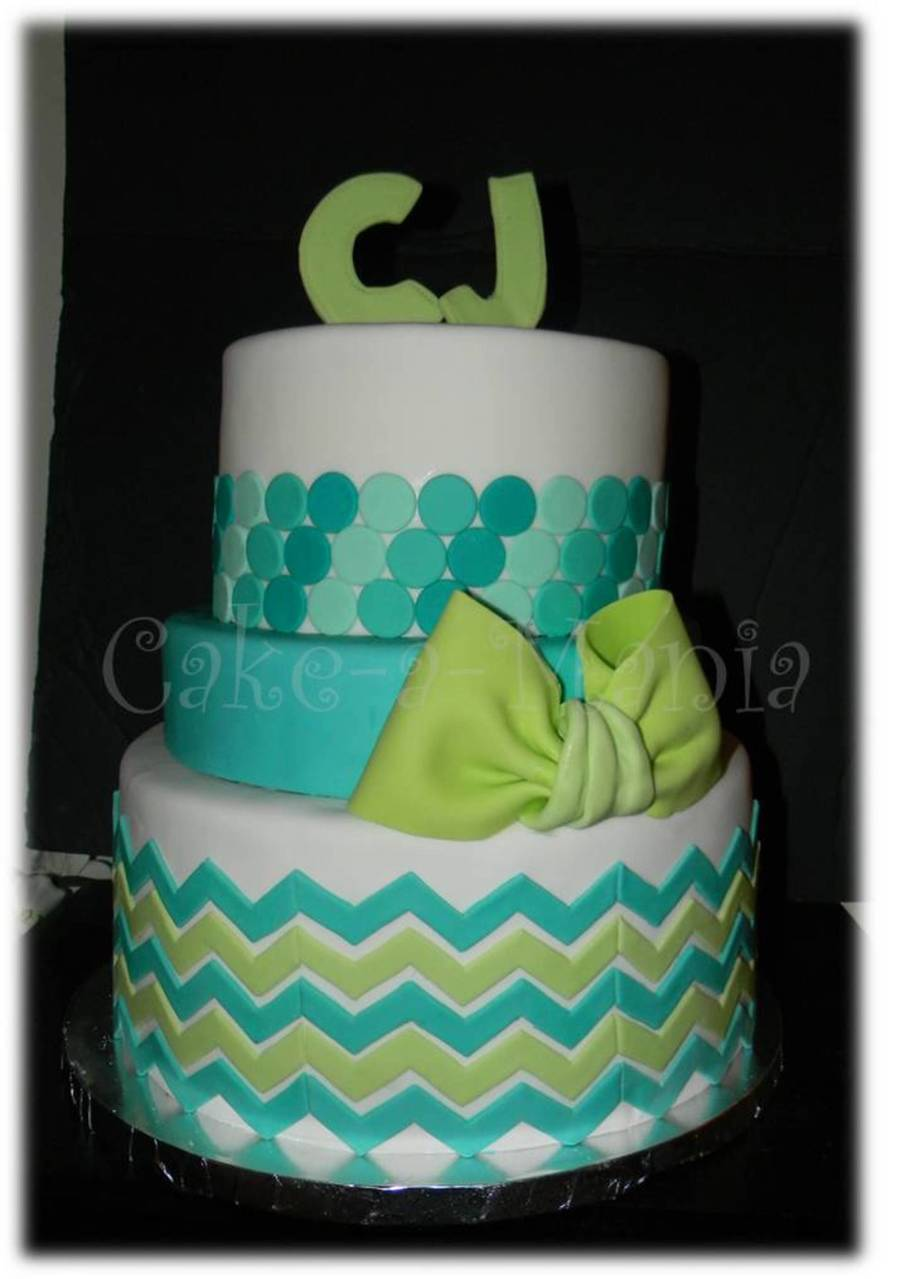 3 Tier Baby Shower Cake Chevron And Ombre Circles Adorn
