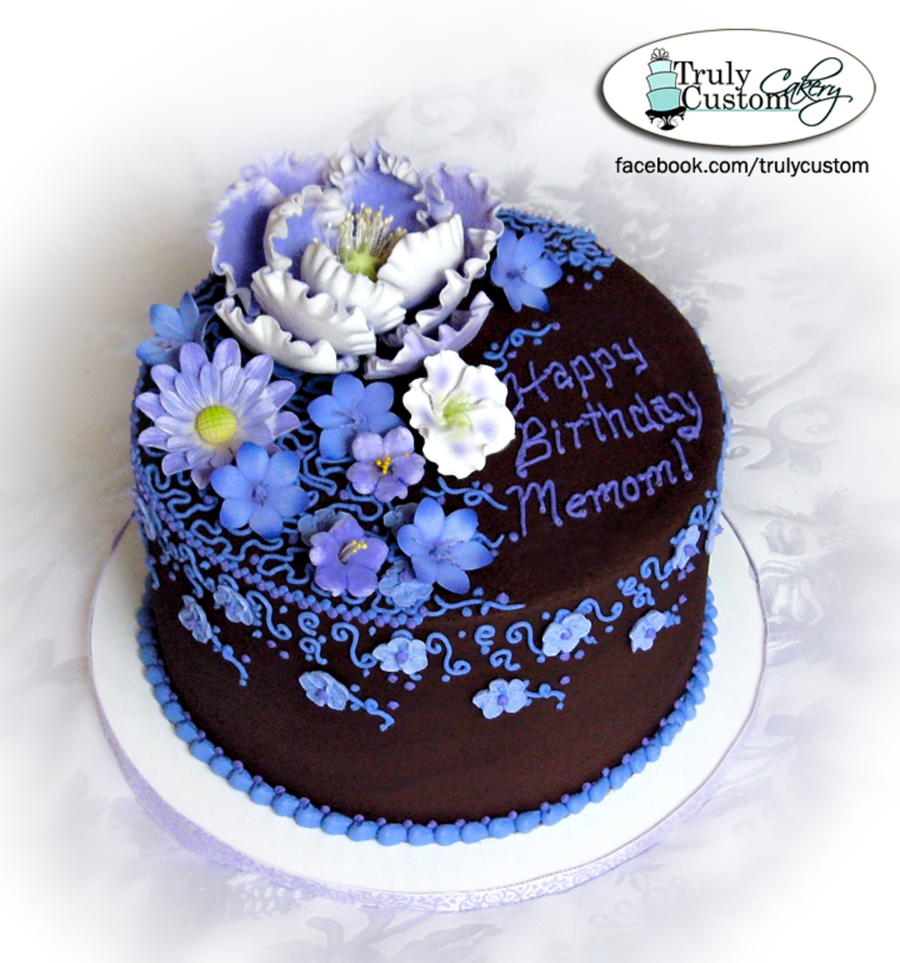 Enjoyable Chocolate Buttercream With Purple Lavendar Flowers And Piping Funny Birthday Cards Online Elaedamsfinfo