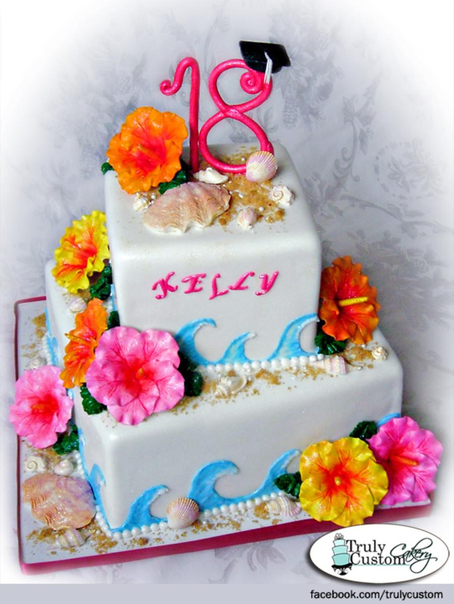 Tropical Themed Birthdaygraduation Cake Cakecentral