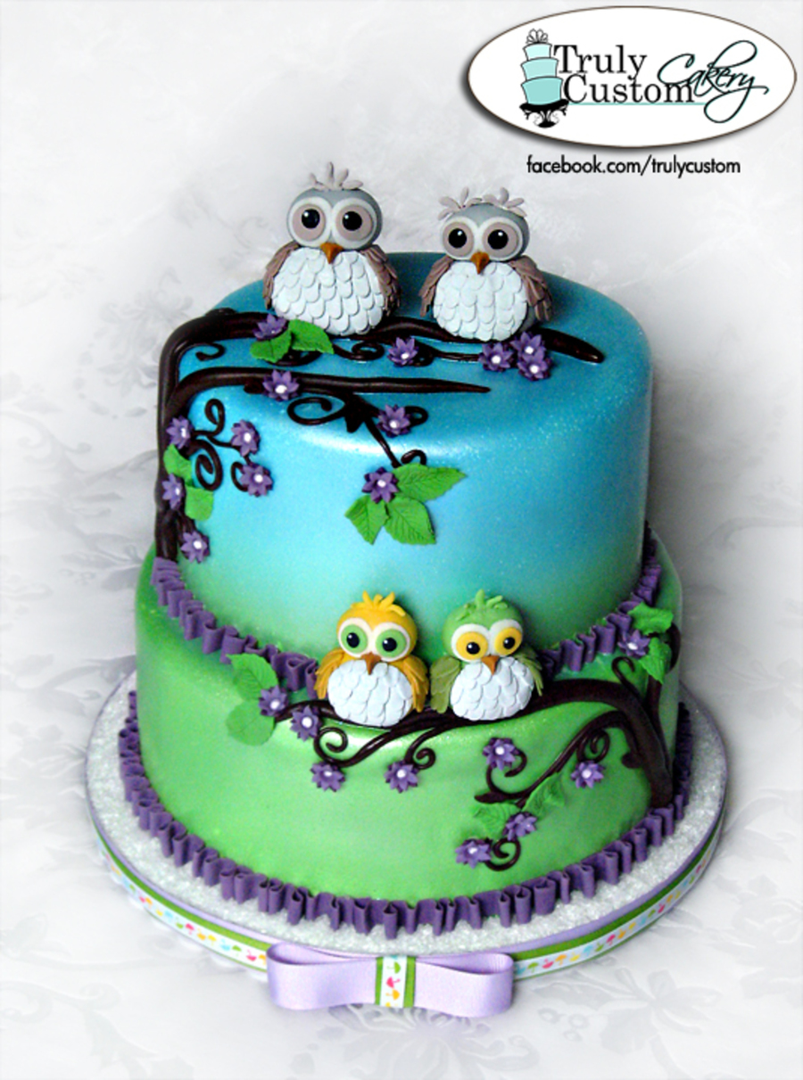 Owl Cake Ideas For Baby Shower : Owl Theme Baby Shower Cake - CakeCentral.com