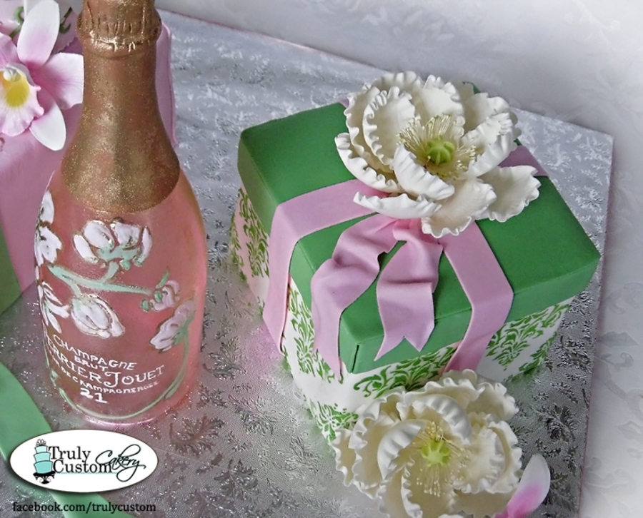 Champagne Bottle And Gift Box 21St Birthday Cake CakeCentralcom