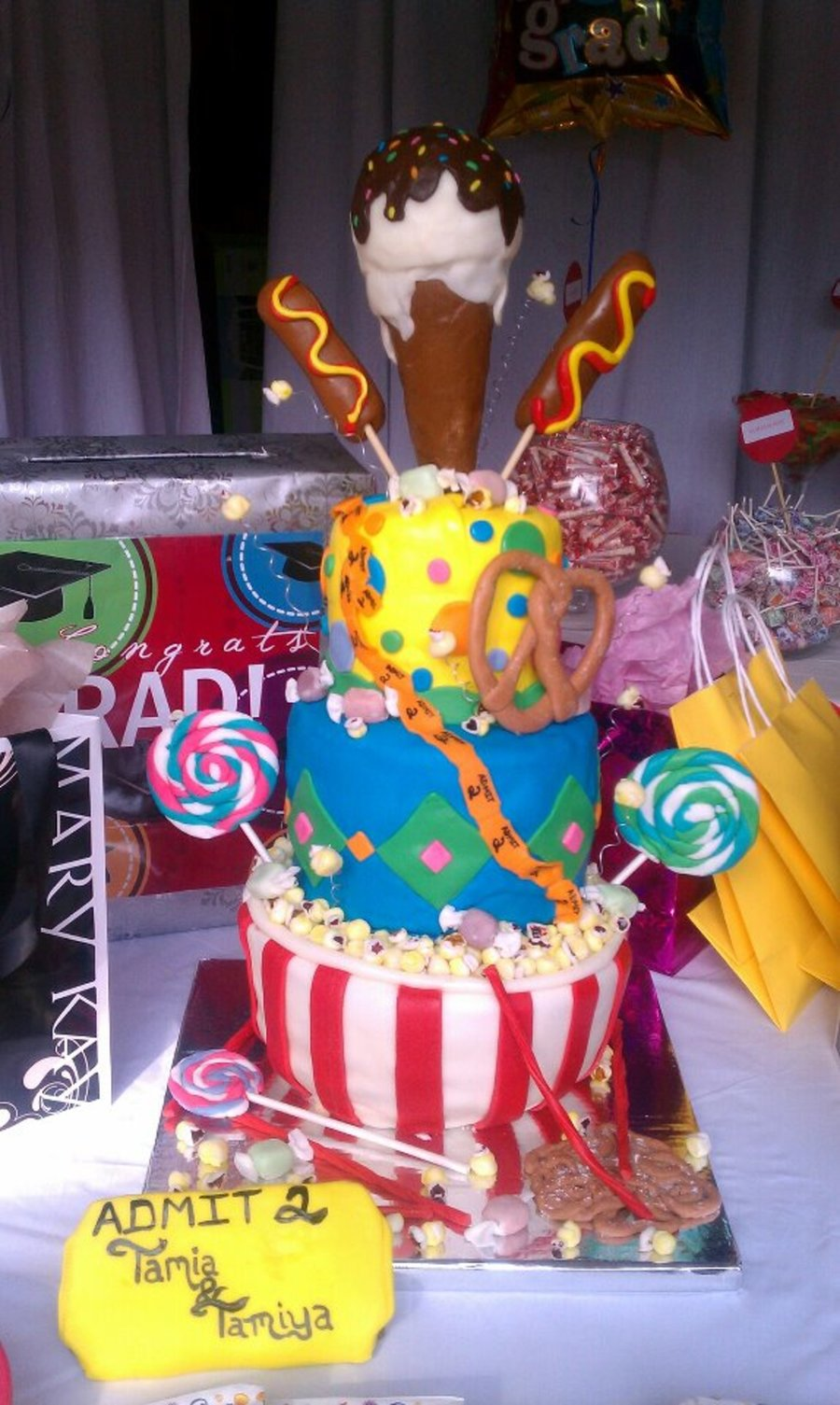 Carnival Themed Graduation Open House Cake on Cake Central