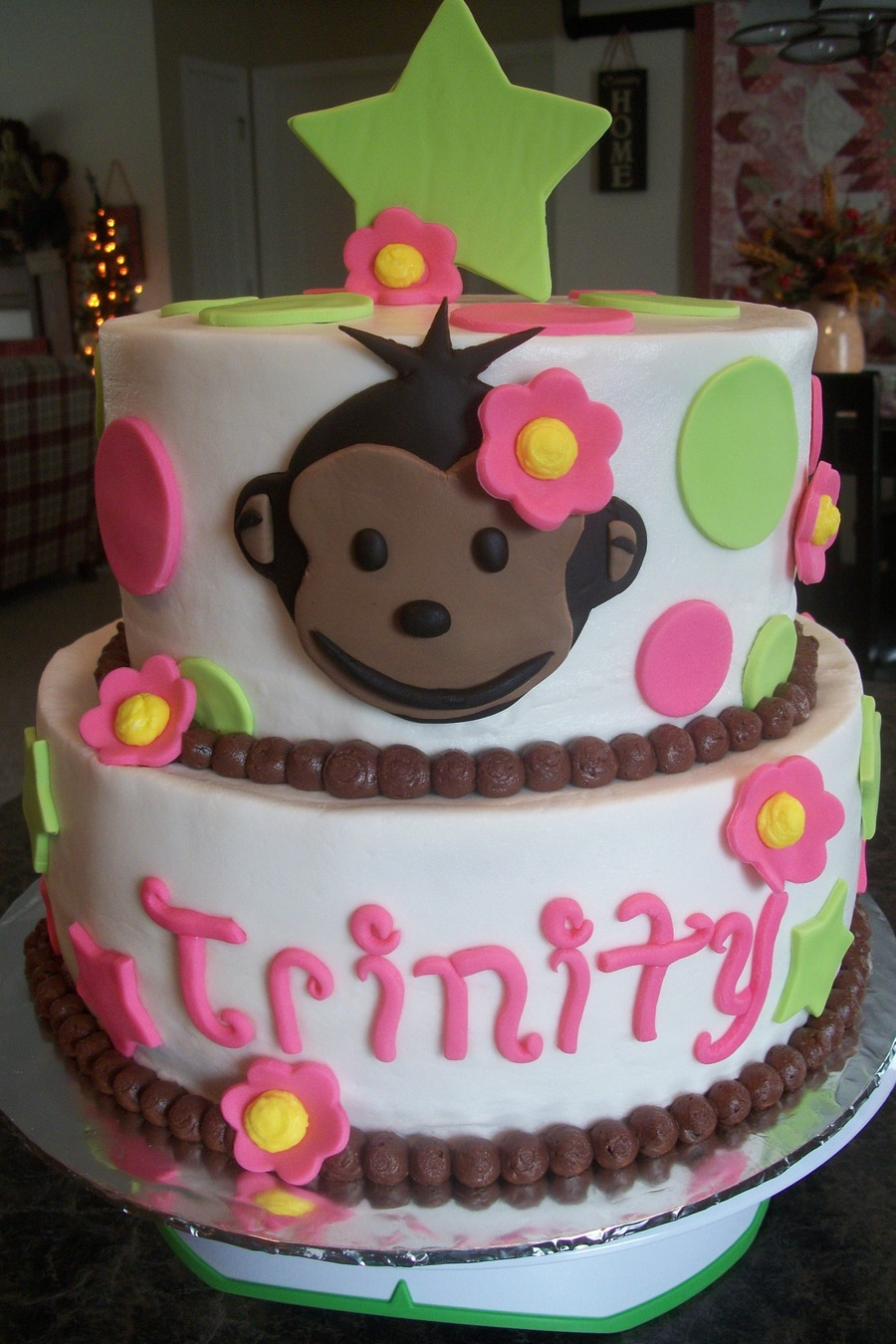 Trinity 39 s monkey first birthday cake for Monkey birthday cake template
