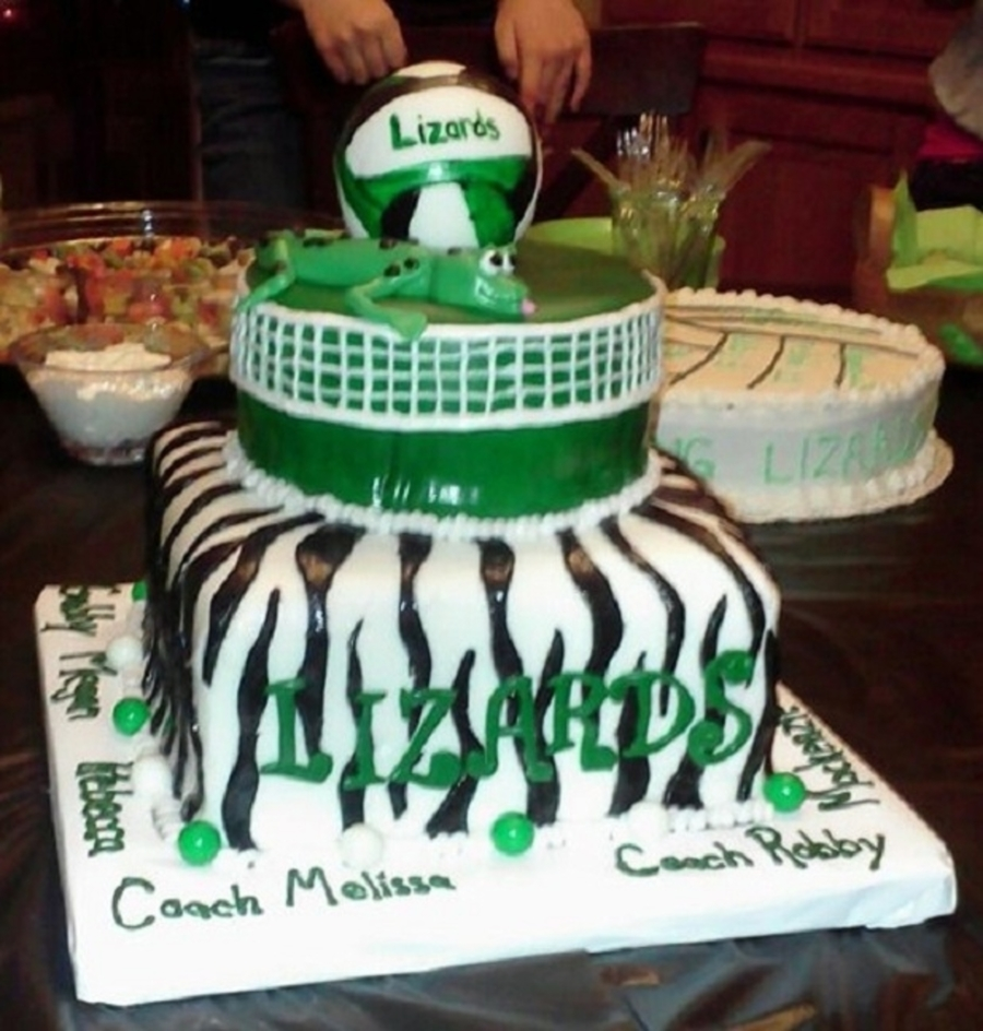 Volleyball Lizards on Cake Central