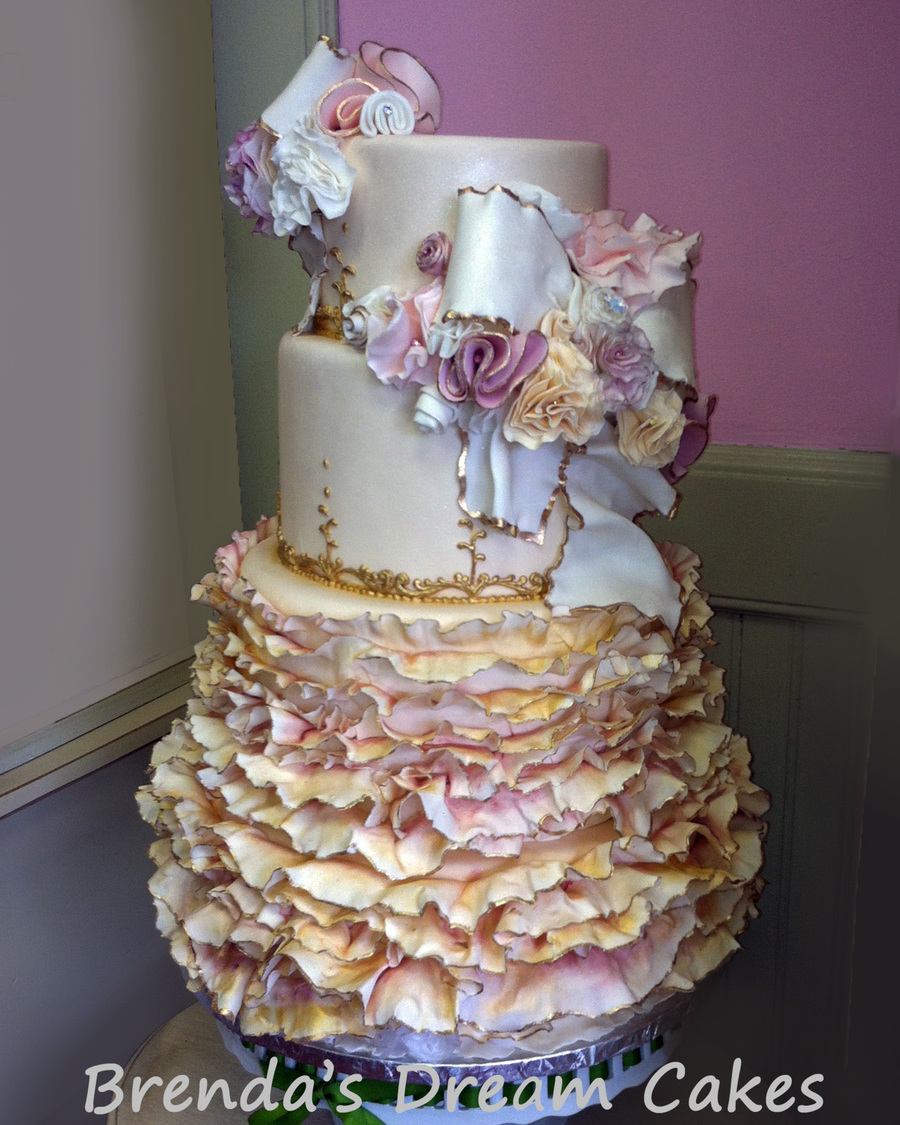 Romantic Ruffled Wedding Cake on Cake Central