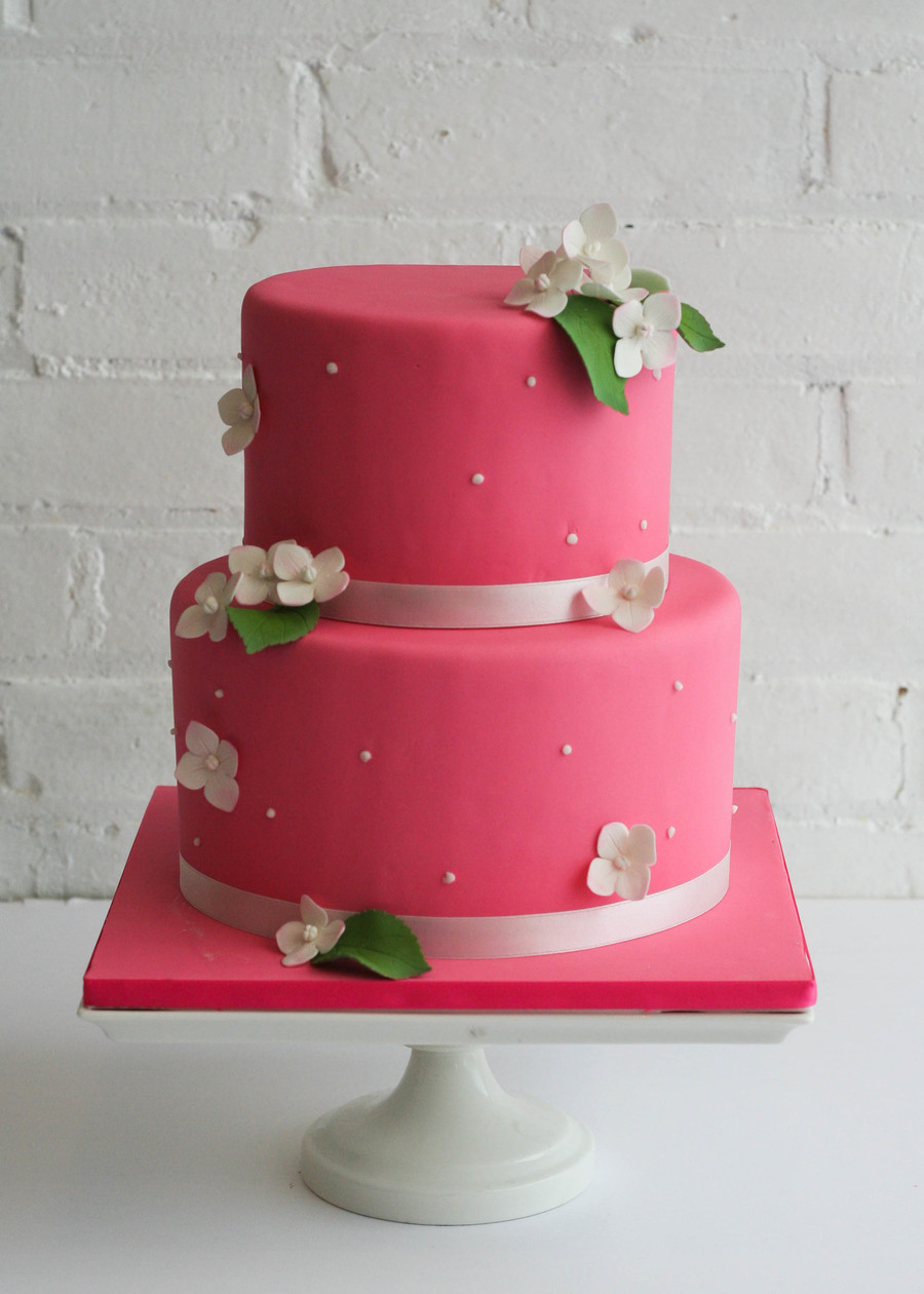 Simple And Sweet In Pink With White Hydrangea And Leaves on Cake Central