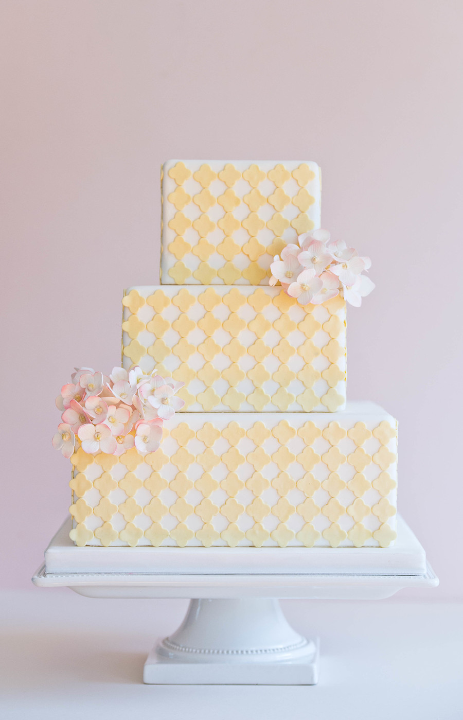 Yellow Quatrefoil And Pink Hydrangeas - CakeCentral com