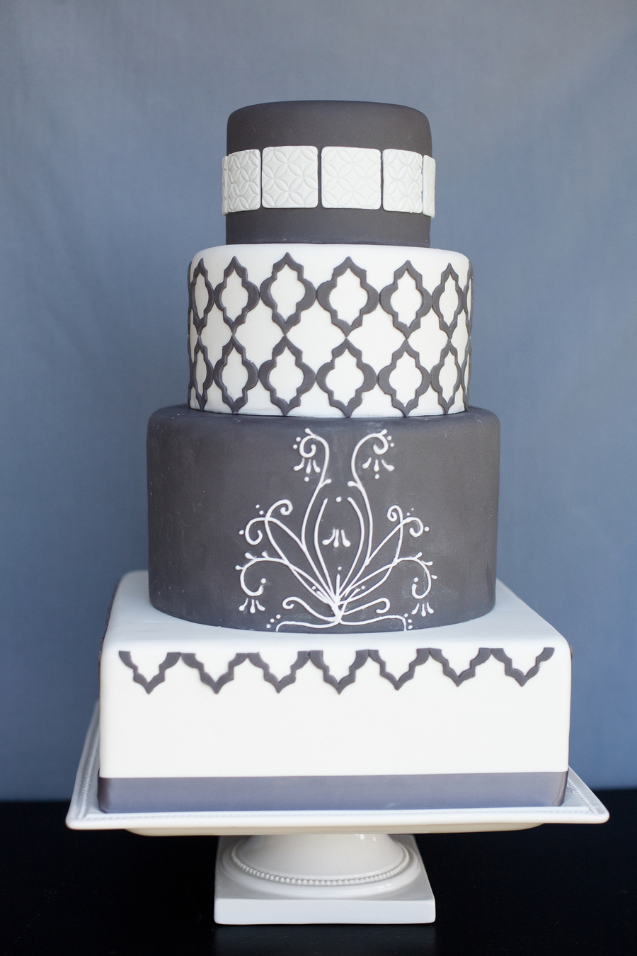 Charcoal Gray And White on Cake Central