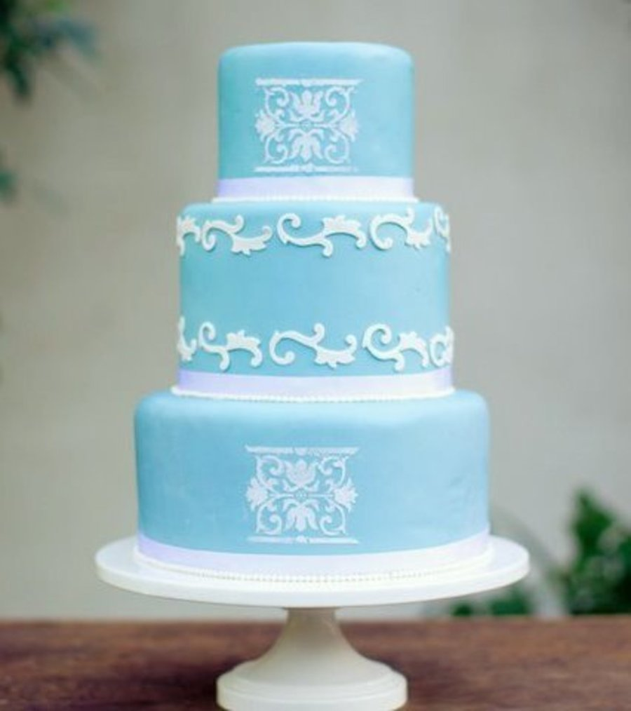 Blue And White Cake  on Cake Central