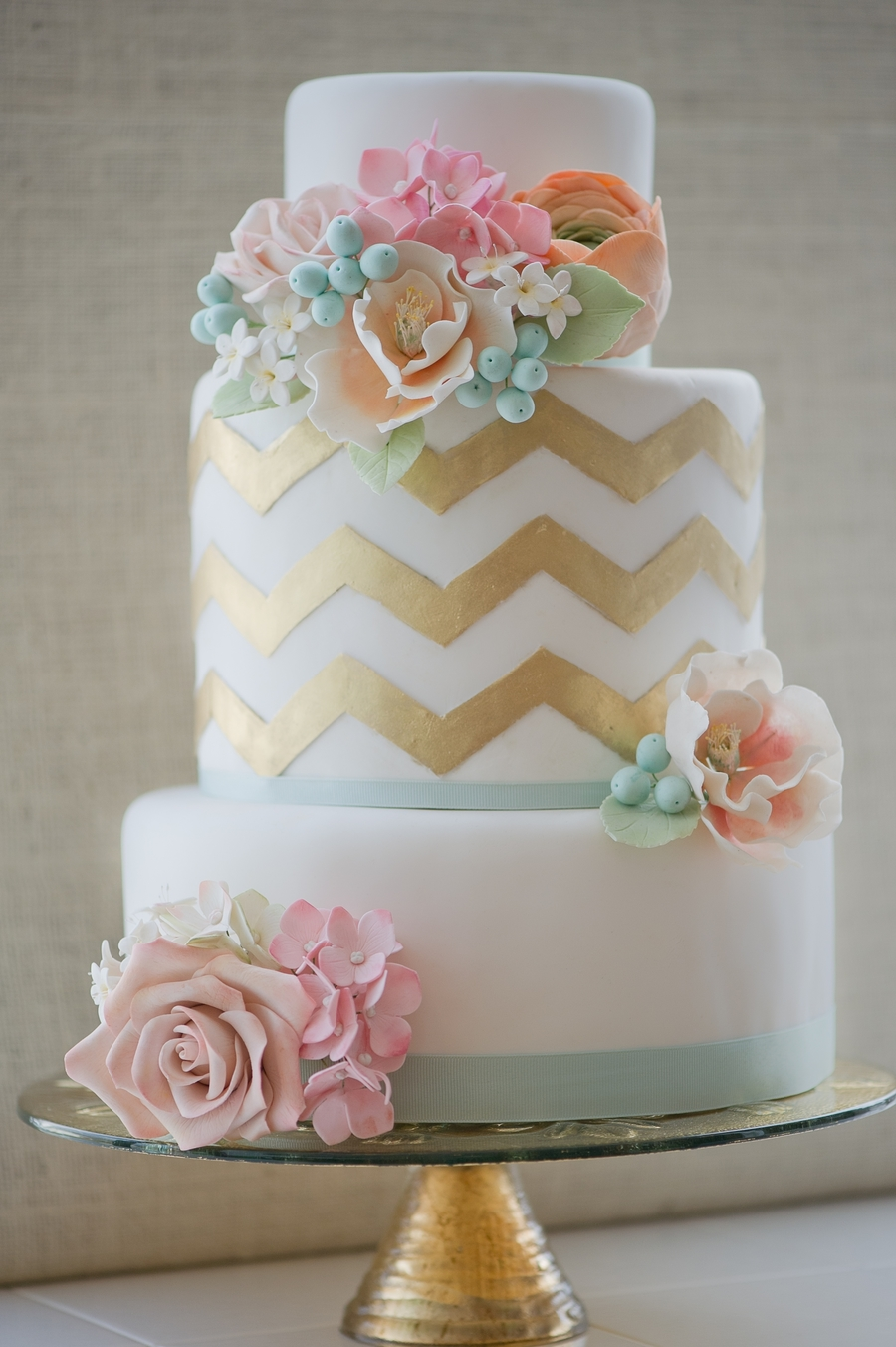 Gold Chevron With Sugar Flowers on Cake Central